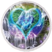 Heart Of Waterfalls Round Beach Towel