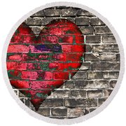 Heart On The Old Wall Round Beach Towel