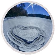 Heart Outlined On Snow On Topw Of Frozen Lake Round Beach Towel