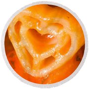 Heart Pasta With Tomato Sauce Round Beach Towel