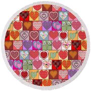 Heart Patches Round Beach Towel