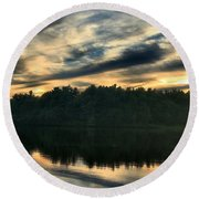 Heart Pond Sunset Round Beach Towel