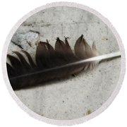 Heart Rock And Feather Round Beach Towel
