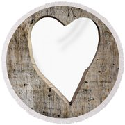 Heart Shape Carved Into A Plank Round Beach Towel