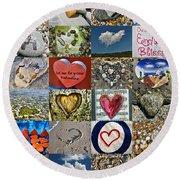 Heart Shape Collage  Round Beach Towel