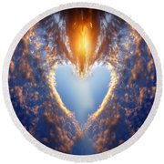Heart Shape On Sunset Sky Round Beach Towel