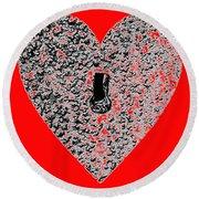 Heart Shaped Lock - Red Round Beach Towel