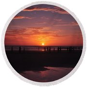 Heart Shaped Sunset In Brazil Round Beach Towel