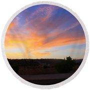Heart Sunset Round Beach Towel by Augusta Stylianou