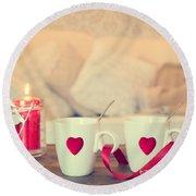 Heart Teacups Round Beach Towel