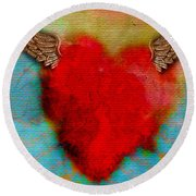 Heart Wings Round Beach Towel