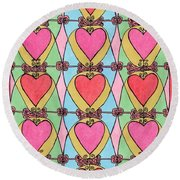 Hearts A'la Stained Glass Round Beach Towel