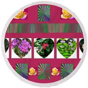 Hearts And Flowers 2 Round Beach Towel