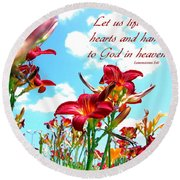 Hearts And Hands  Round Beach Towel