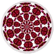Hearts And Orchids Kaleidoscope Round Beach Towel