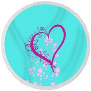 Hearts And Vines Round Beach Towel