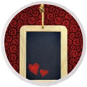 Hearts In Slate Round Beach Towel