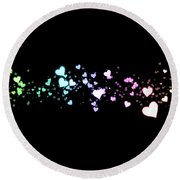 Hearts In Space Round Beach Towel