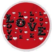 Hearts Of Love Round Beach Towel