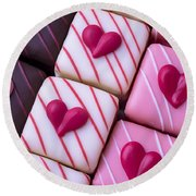 Hearts On Candy Round Beach Towel