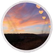Hearts Sunset Round Beach Towel by Augusta Stylianou