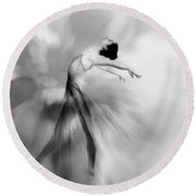 Heavenly Creature Bw Round Beach Towel
