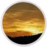 Heavenly Gold Sunset Round Beach Towel