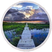 Heavenly Harbor Round Beach Towel by Debra and Dave Vanderlaan