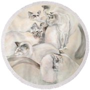 Heavenly Puffs Round Beach Towel by Janet Felts