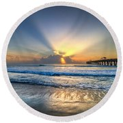 Heaven's Door Round Beach Towel by Debra and Dave Vanderlaan