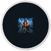 Heavy Metal Fashion. Sofia Metal Queen. Blue Fire Storm. The Power Round Beach Towel