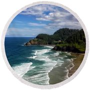 Heceta Head Round Beach Towel by Darren  White