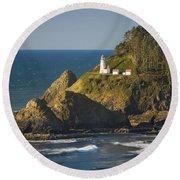 Heceta Head Lighthouse - Sunny Round Beach Towel