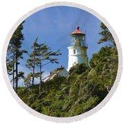 Heceta Head Lighthouse 1 B Round Beach Towel