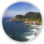 Heceta Head Lighthouse 2 A Round Beach Towel