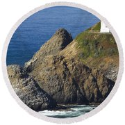 Heceta Head Lighthouse 2 F Round Beach Towel