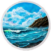 Heceta Head Lighthouse Oregon Coast Original Painting Forsale Round Beach Towel