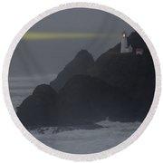 Heceta Head Lighthouse Oregon Coast Round Beach Towel