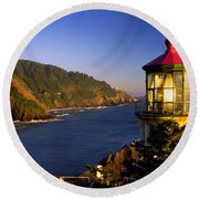 Heceta Head Moonrise Round Beach Towel