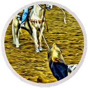 Heeled Steer Round Beach Towel