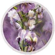 Heirloom Iris In Iris Vase Round Beach Towel