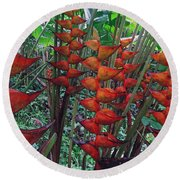 Heliconia Haven Round Beach Towel