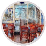 Hellas Restaurant And Bakery  Round Beach Towel by L Wright
