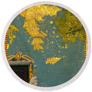Hellenic Peninsula Greece Albania Bosnia And Bulgaria Round Beach Towel