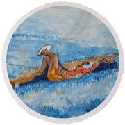 Hello Young Lovers In Blue Round Beach Towel