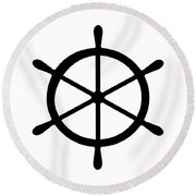 Helm In Black And White Round Beach Towel