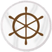 Helm In Brown And White Round Beach Towel
