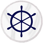 Helm In Navy Blue And White Round Beach Towel