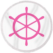 Helm In Pink And White Round Beach Towel
