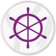 Helm In Purple And White Round Beach Towel